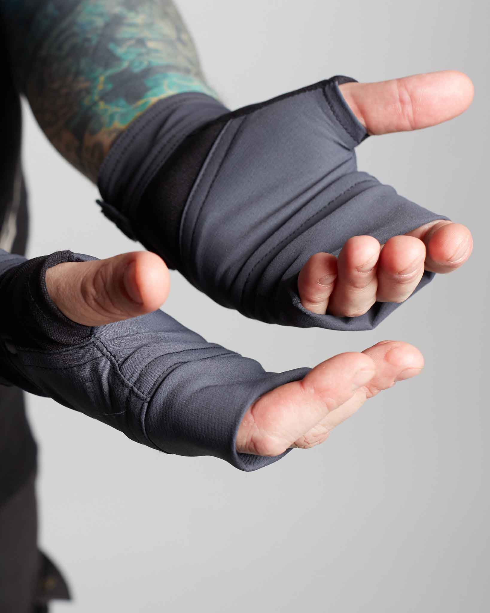 Handmade futuristic gloves made with stretch cordura