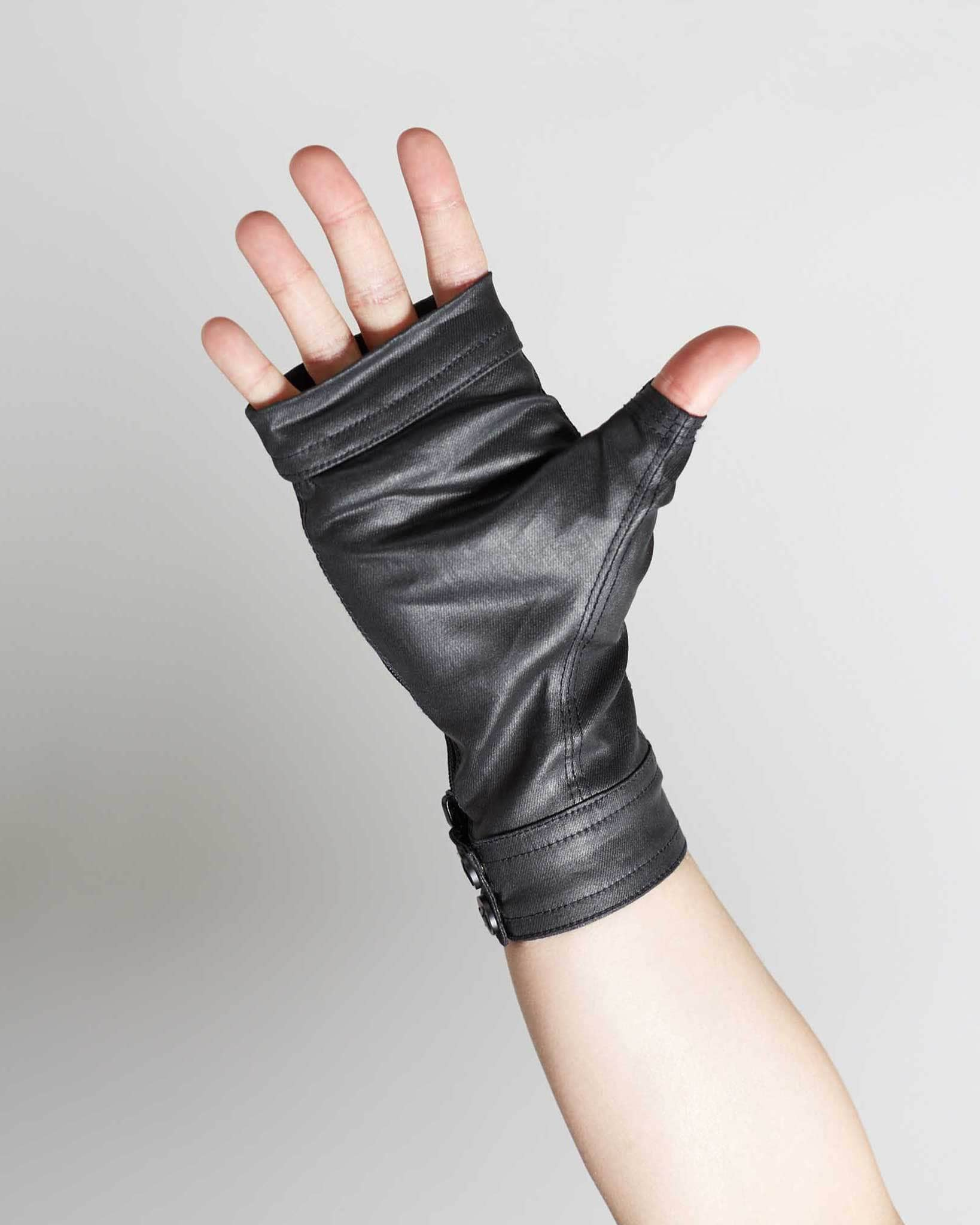 waxed denim high fashion gloves, made by hand