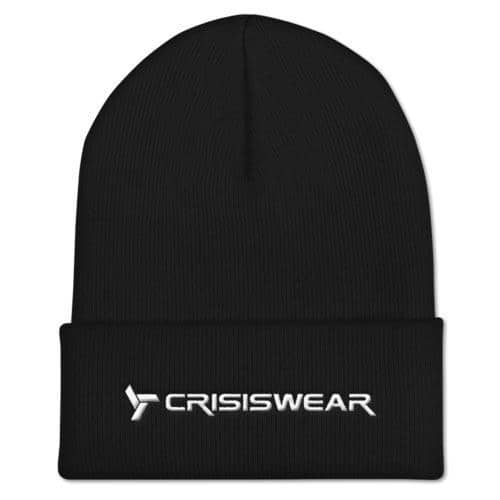 simple black beanie with crisiswear logo, modern branded headwear