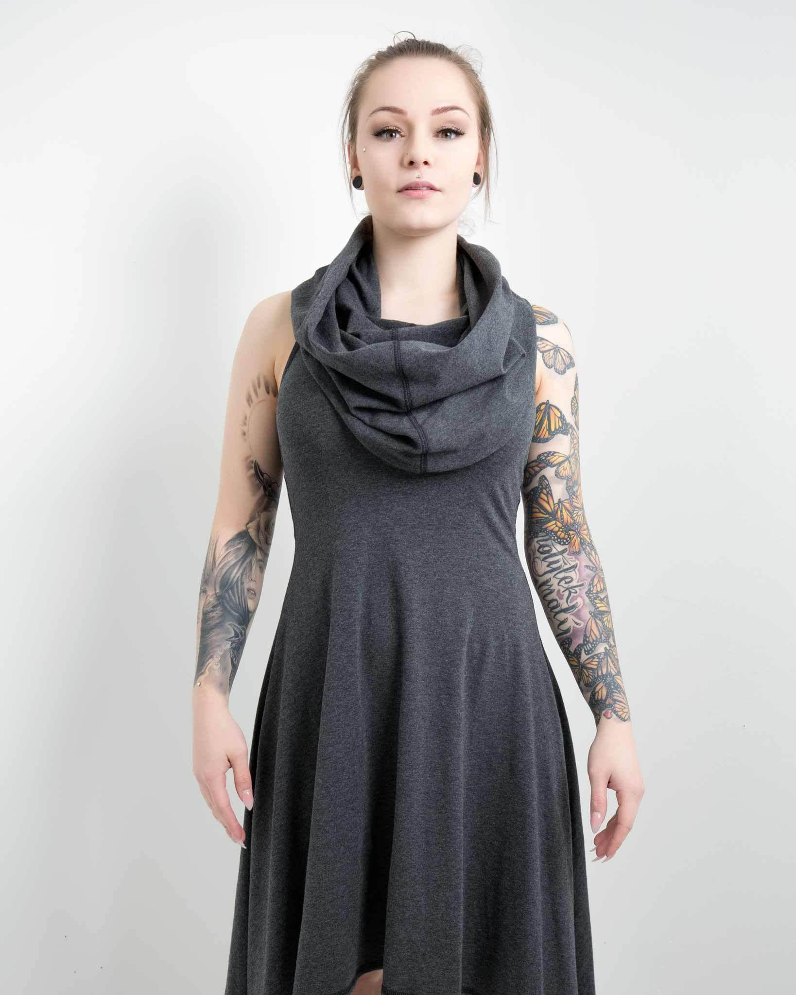 lightweight women's dress with cowl built in, modern look