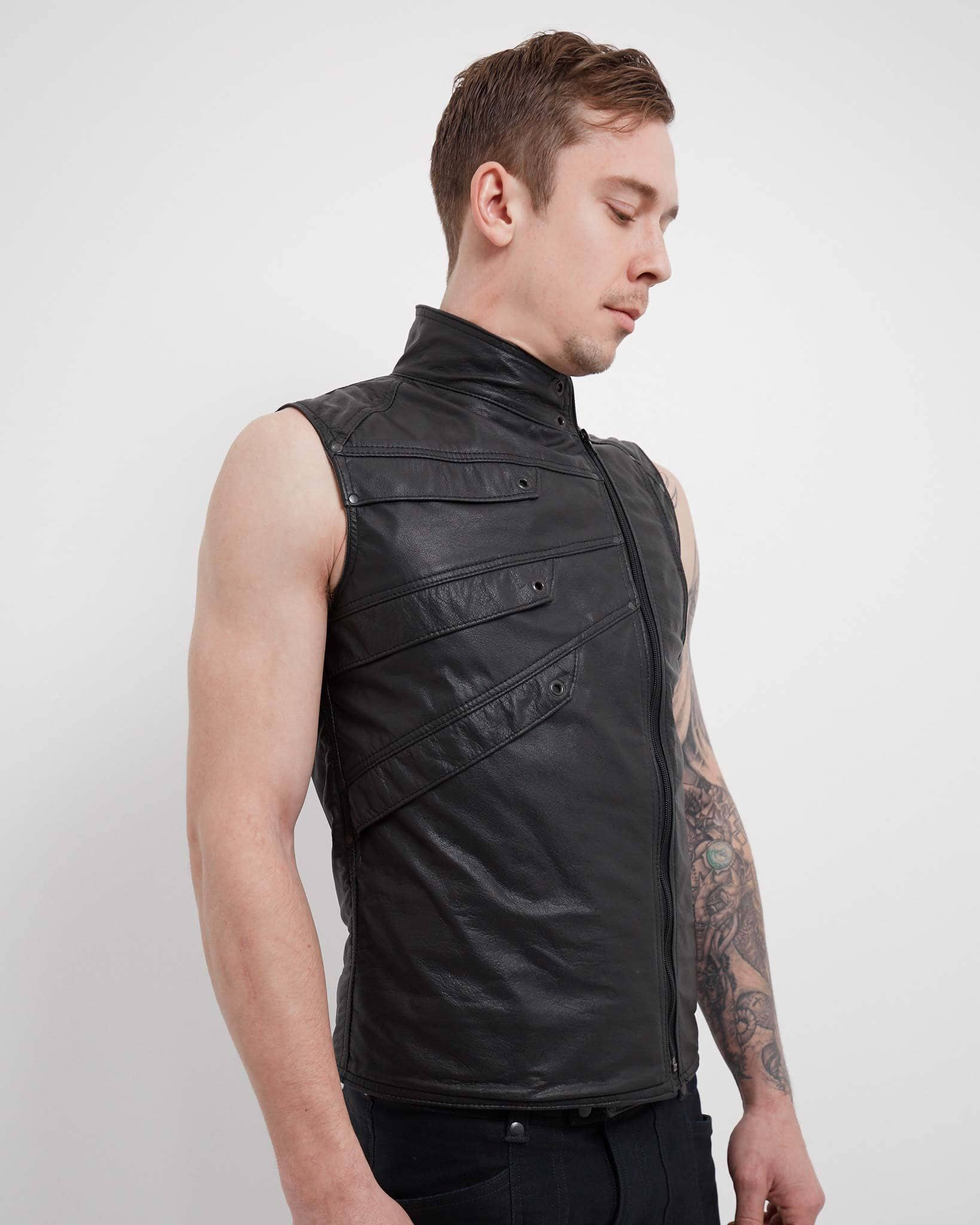 Leather Sidewinder Vest - Crisiswear Clothing