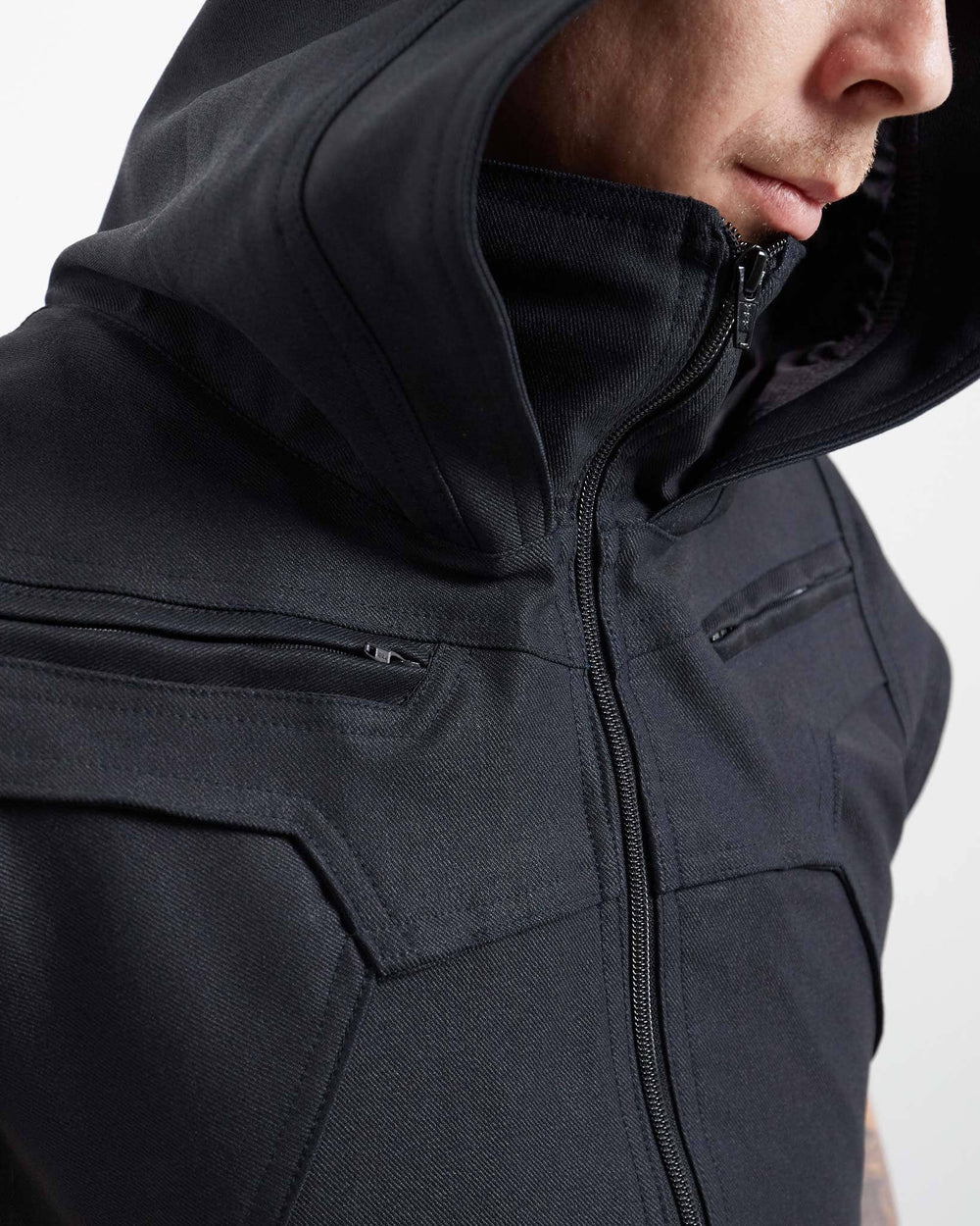 zippered vest with cowl hood