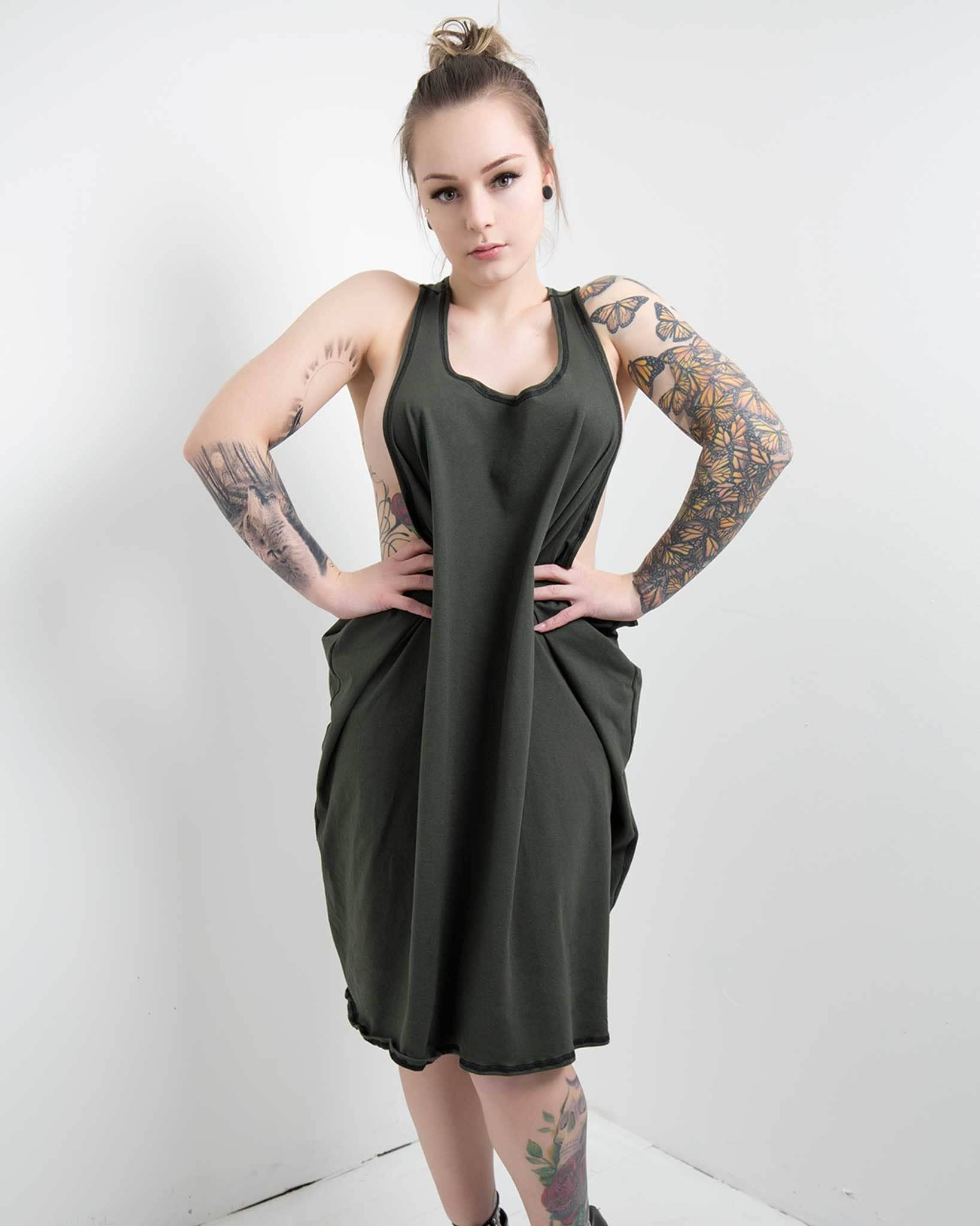 Designer tank dress with open sides