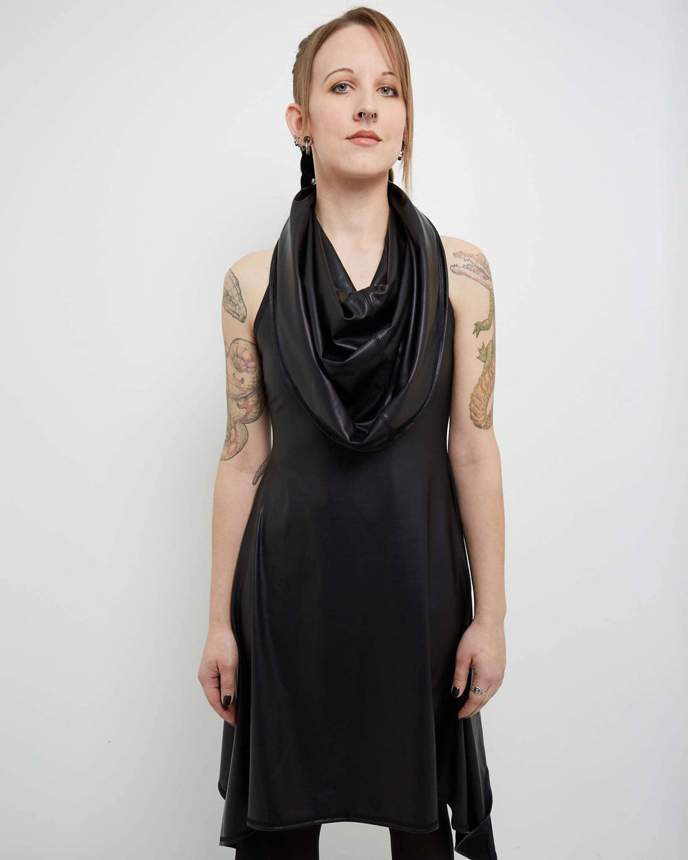 stretch vegan leather dress
