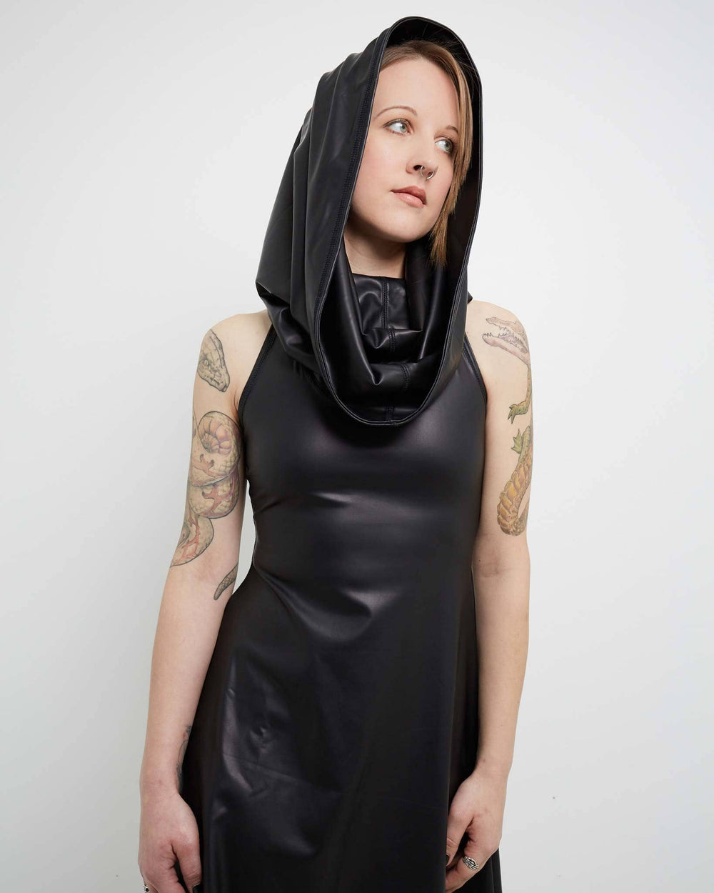 modern women's dress made with vegan leather