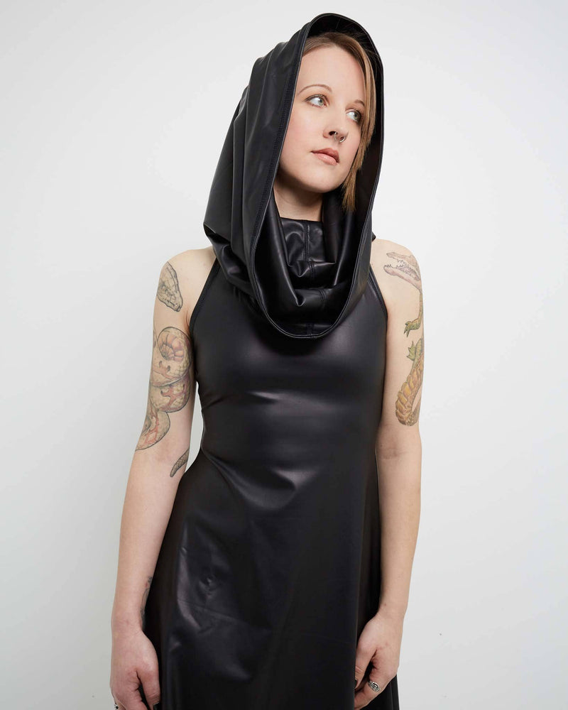 products/vegan_leather_hybrid_cowl_dress_hood_up_front.jpg