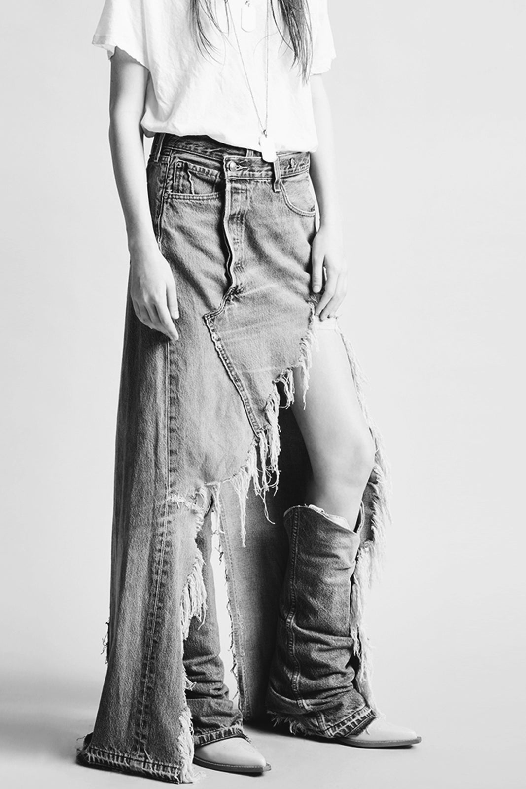 R13 crossover denim full length denim skirt with shredding up front slit to left thigh in light blue