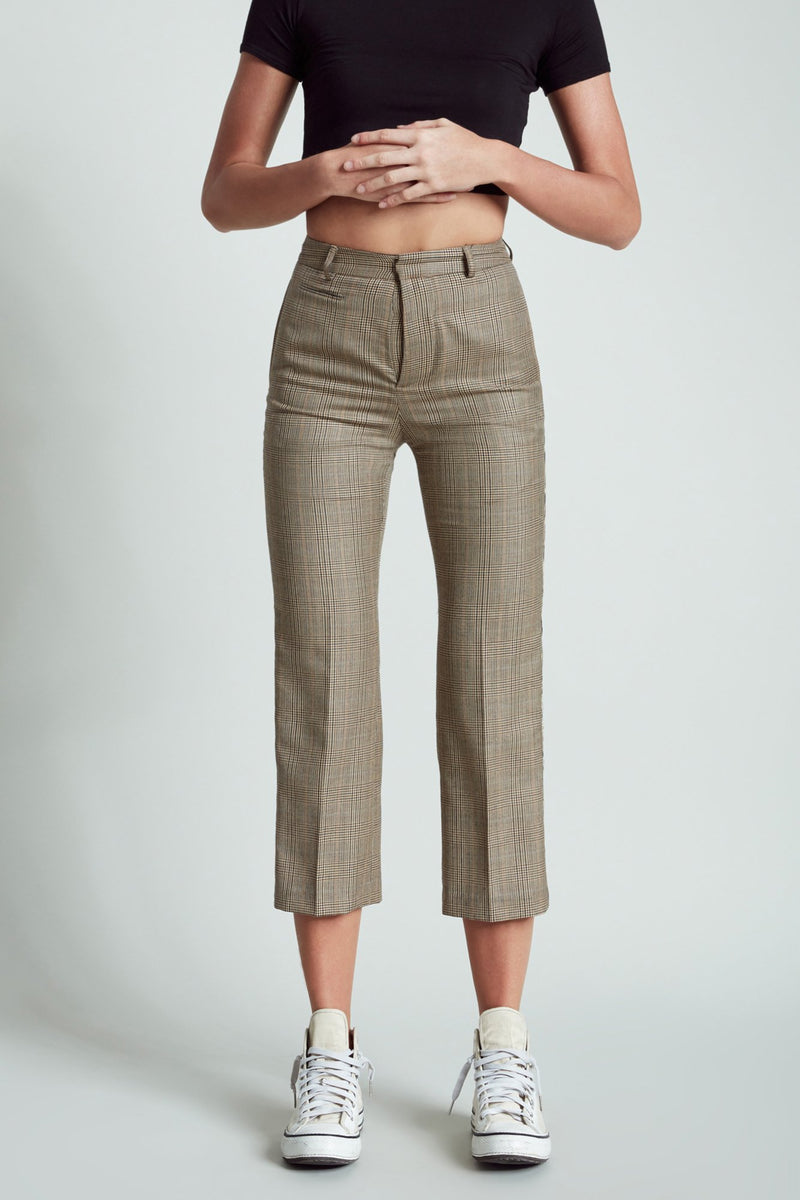 Tuxedo Trouser - Brown Glenplaid with Leopard