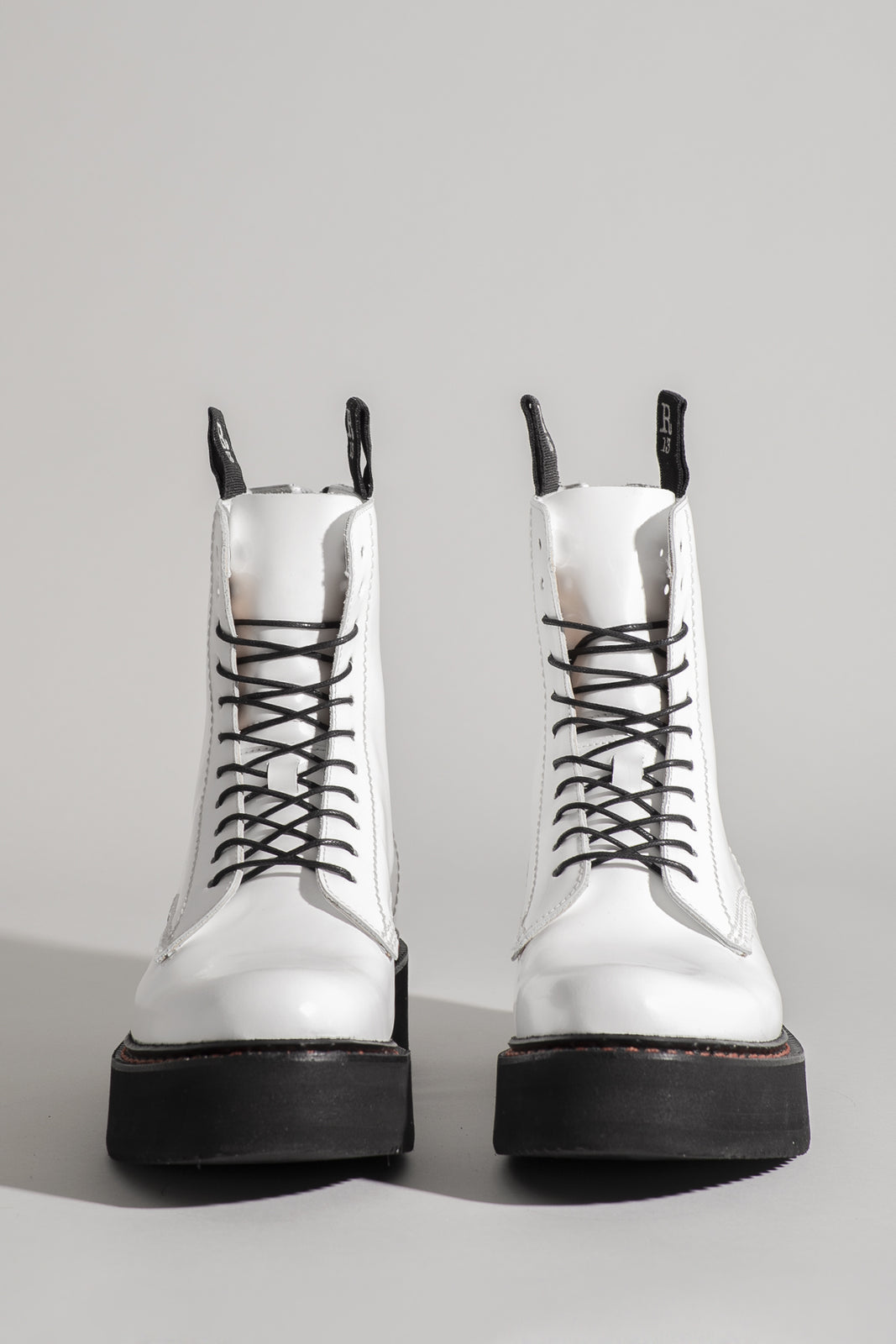 SINGLE STACKED LACE-UP BOOTS - WHITE