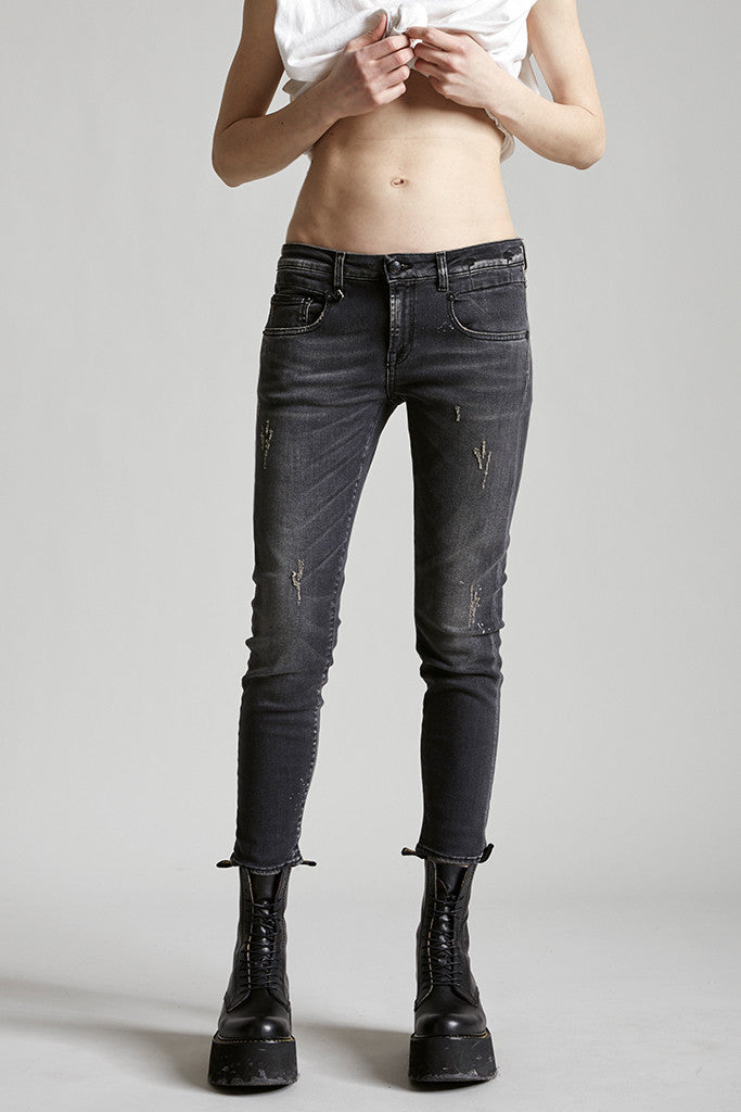 R13 Denim mid rise straight cut skinny jean in black orion