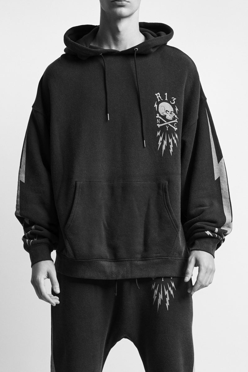 Skull Bolt Oversized Hoodie - Acid Black