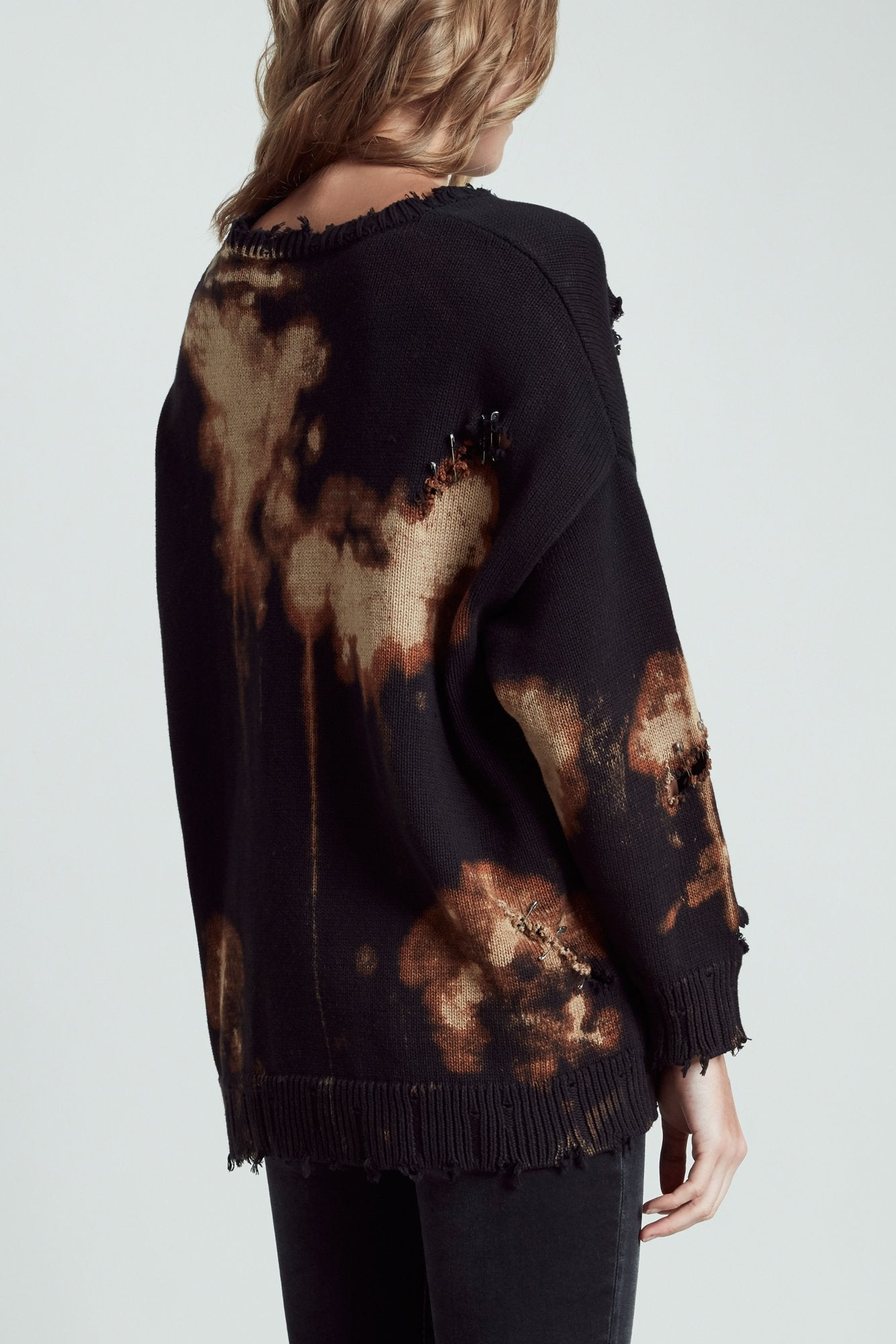 Bleached Distressed Crewneck Sweater - Black with Bleach