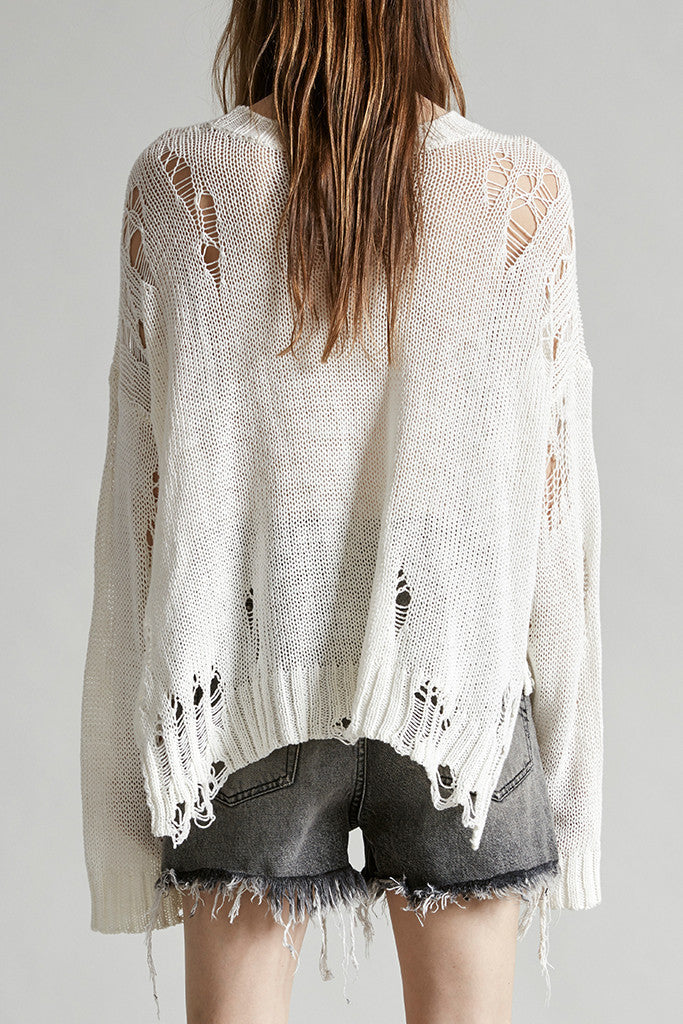 SHREDDED SIDE SLIT SWEATER - CREME
