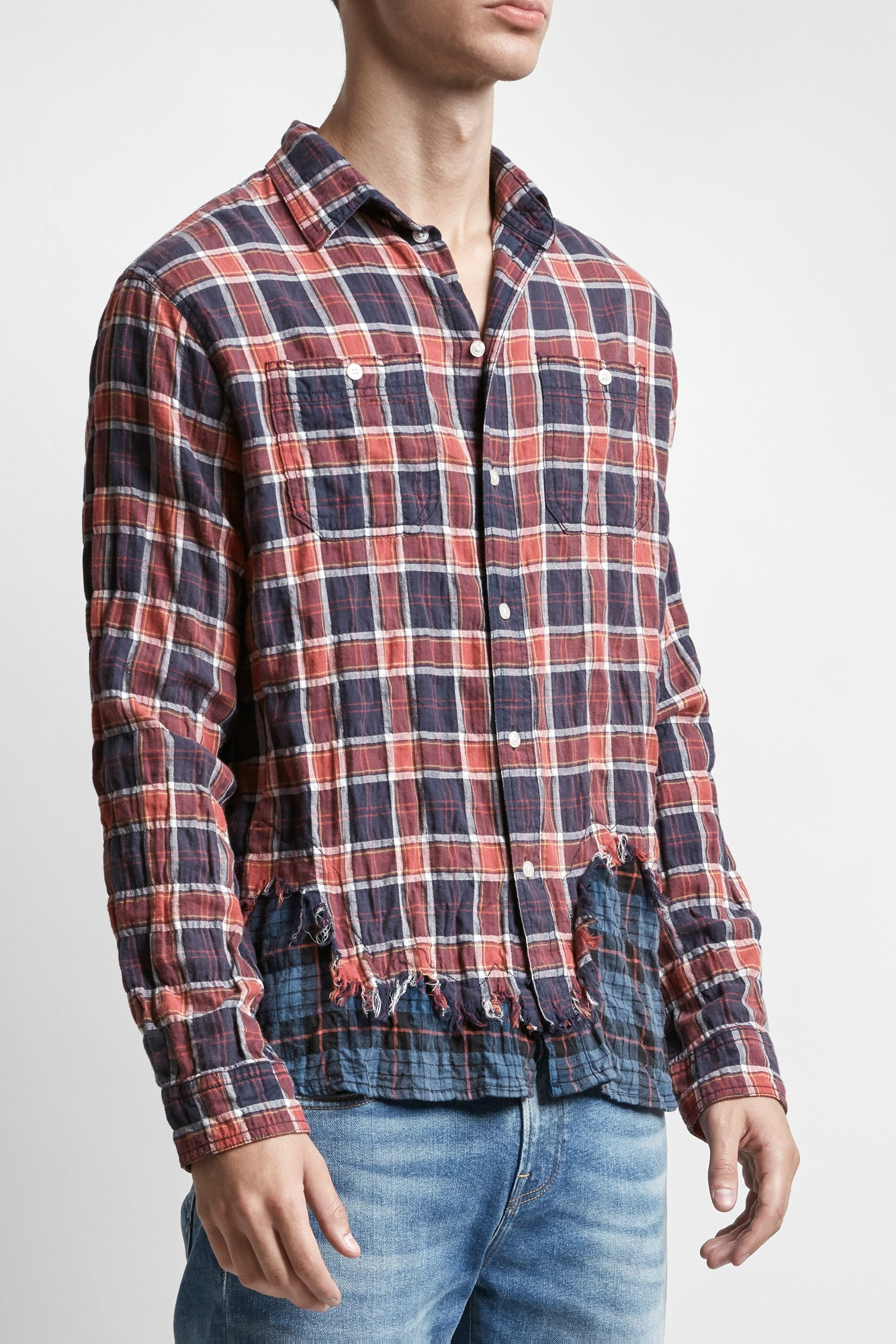 Tattered Hem Shirt - Maroon