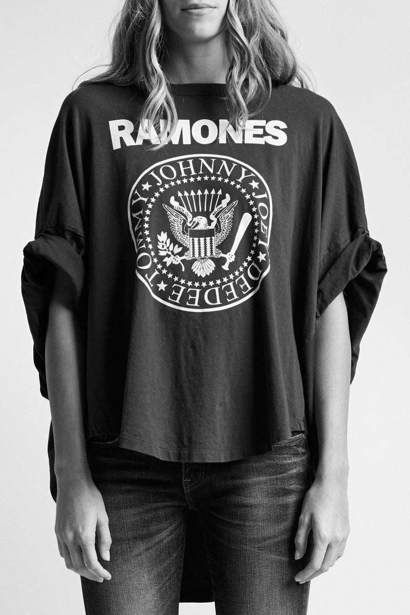 Ramones Rolled Sleeve Patti T - Skull Biker Black
