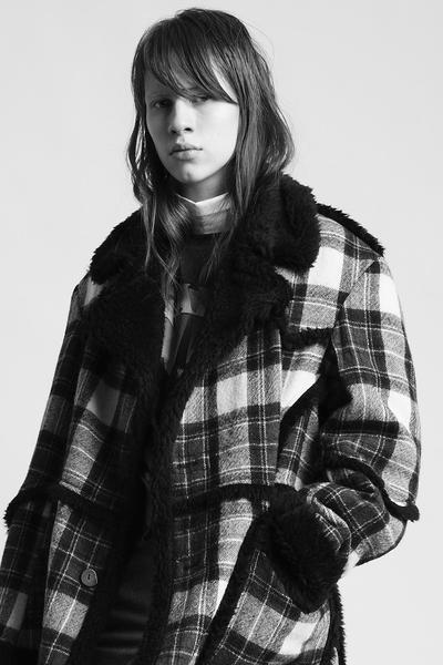 Imitation Sheepskin Coat - Red/Creme Plaid