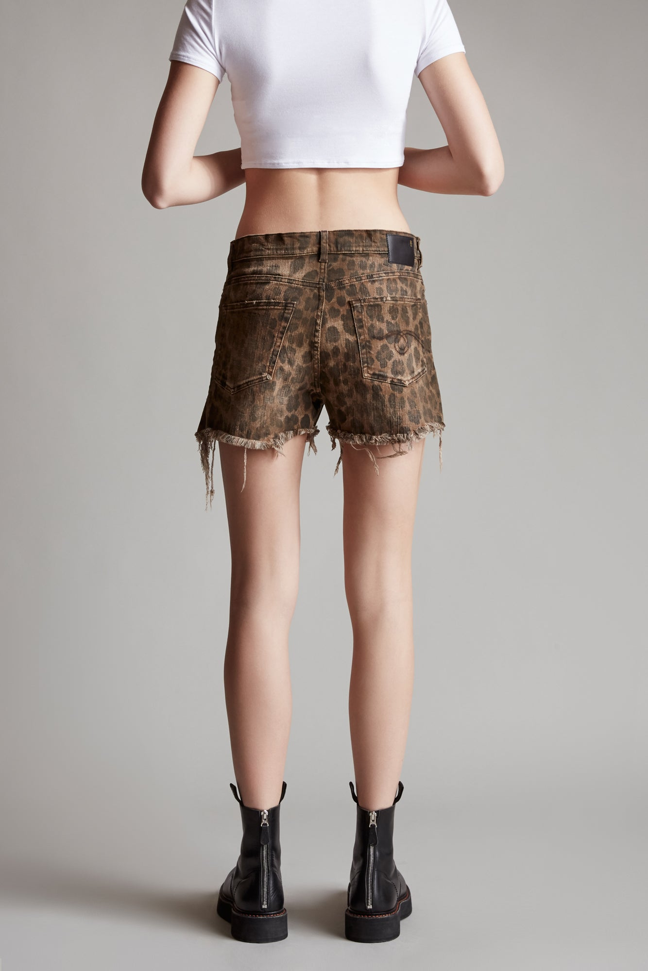 Shredded Slouch Short - Leopard