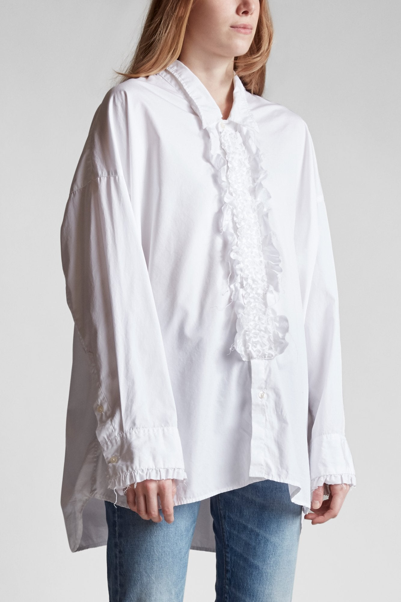 Drop Neck Tuxedo Shirt - White