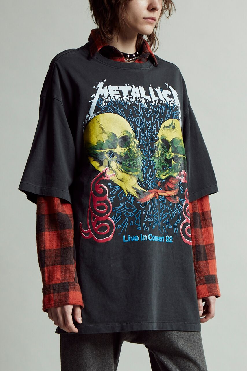 r13 cotton band tee with crewneck with metallica print