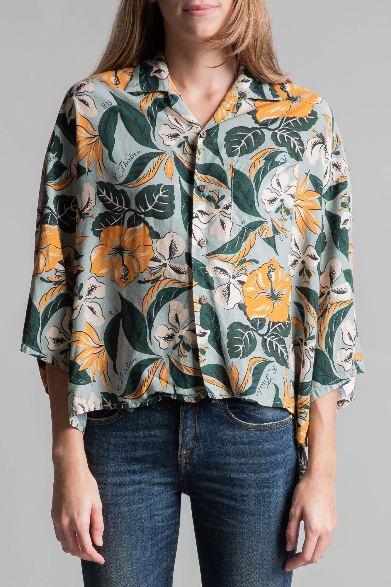Hawaiian Shirt - Pale Blue Floral