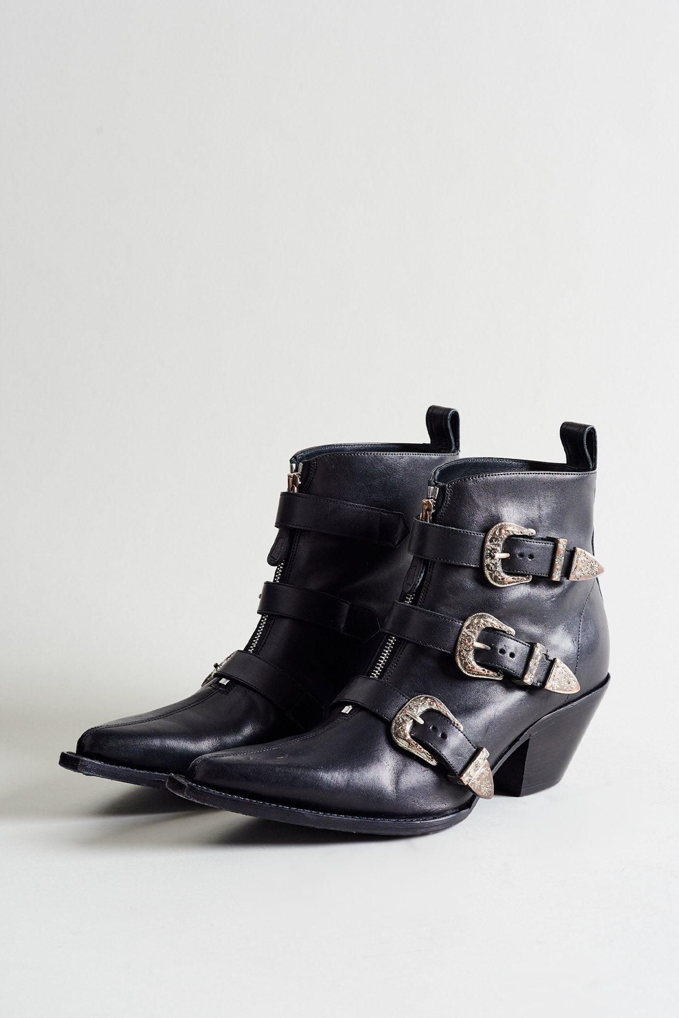 Ankle Three Buckle Boot - Black Leather