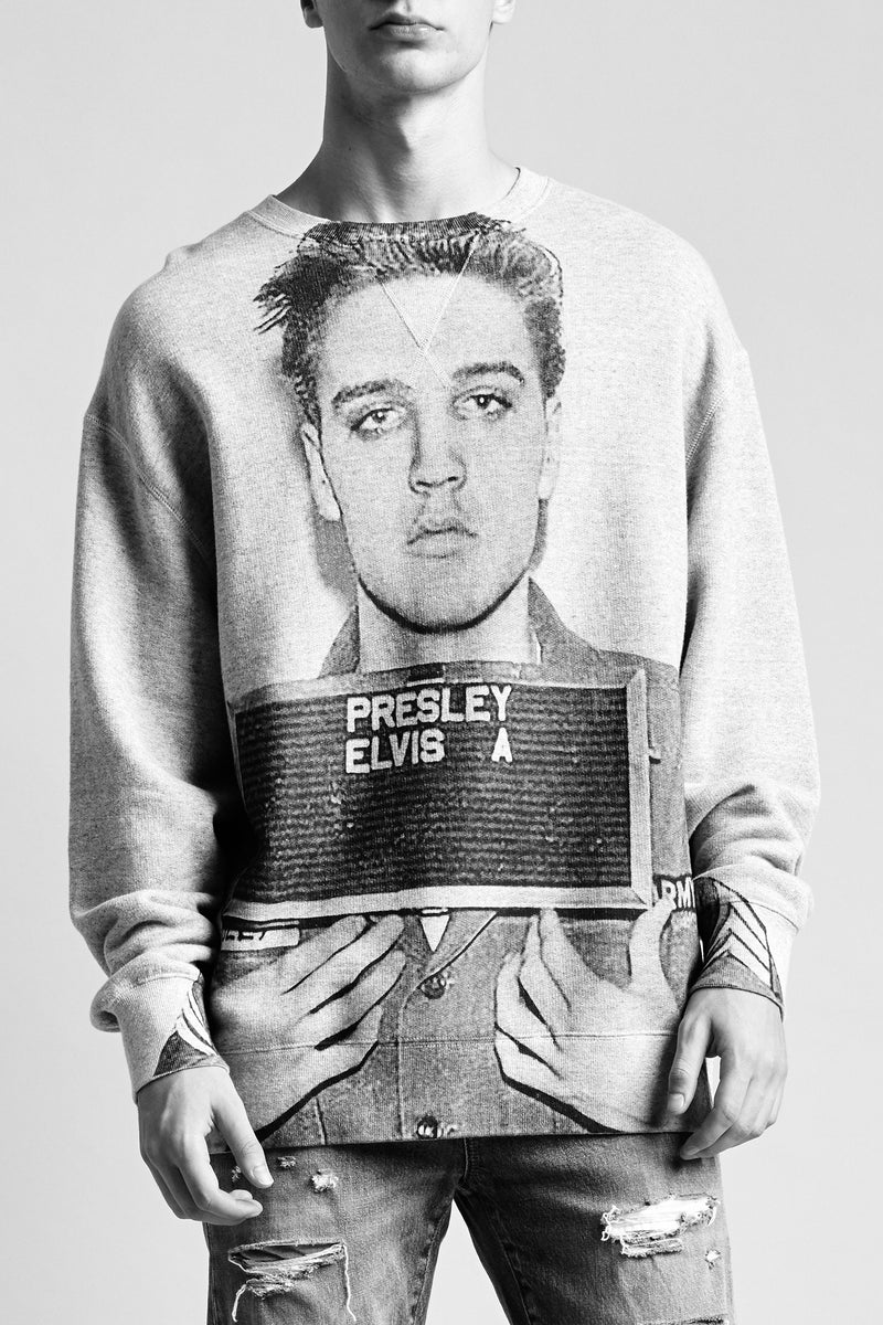 Elvis Mugshot Oversized Sweatshirt - Heather Grey