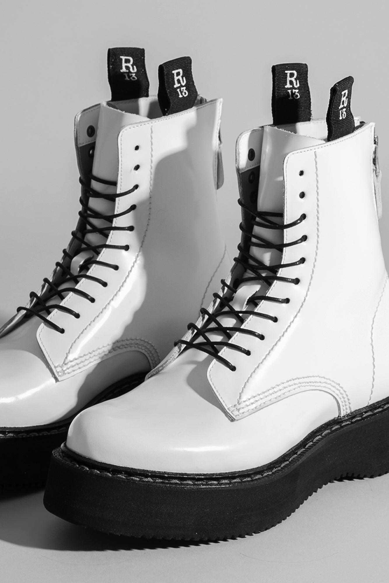 R13 Boot with chunky black sole in glossy white