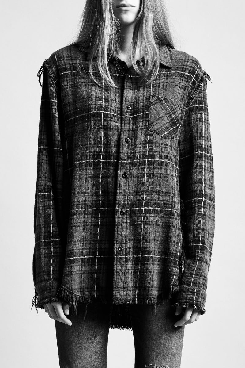 Shredded Seam Shirt - Blue Plaid