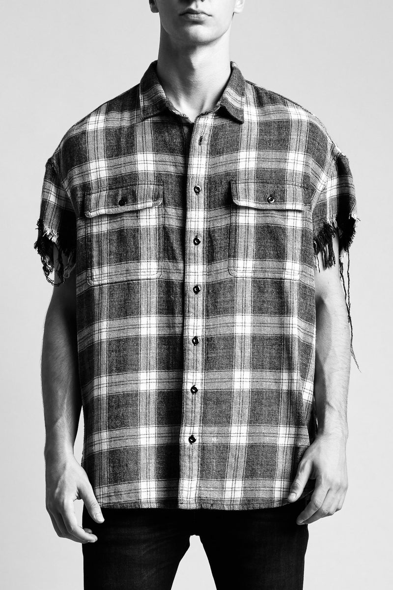 R13 oversized collared shirt with cut off sleeves in black and white plaid