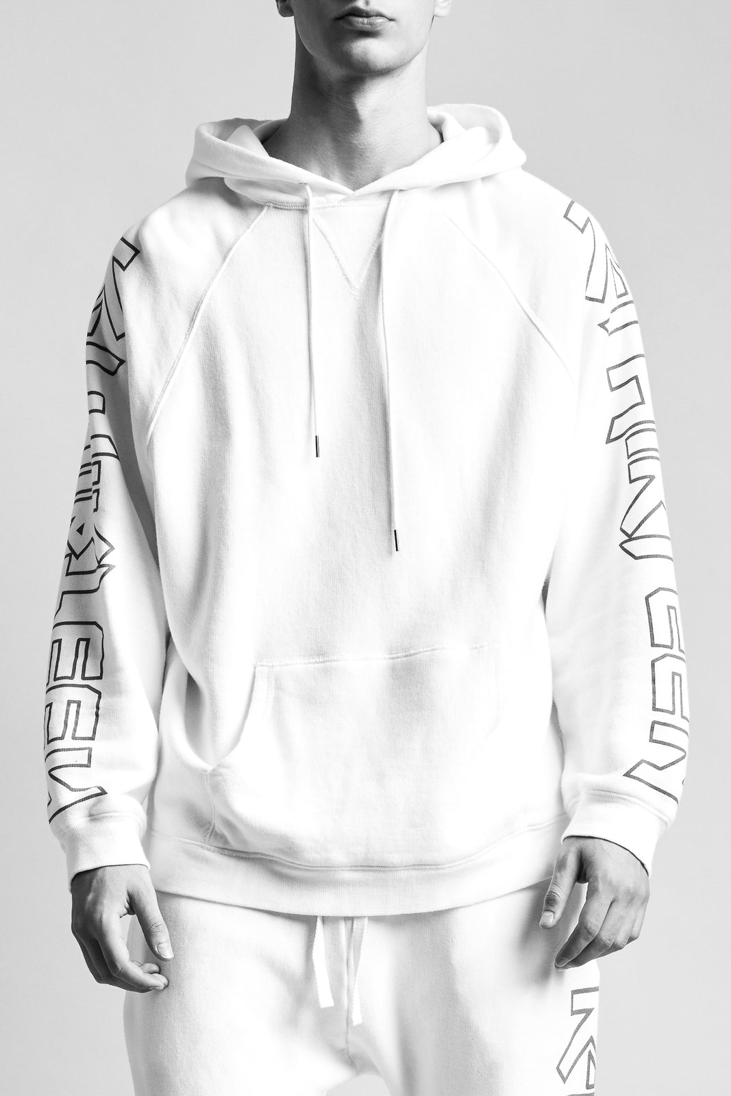 R13 classic oversized pullover white hoodie with RTHIRTEEN red writing down sleeves