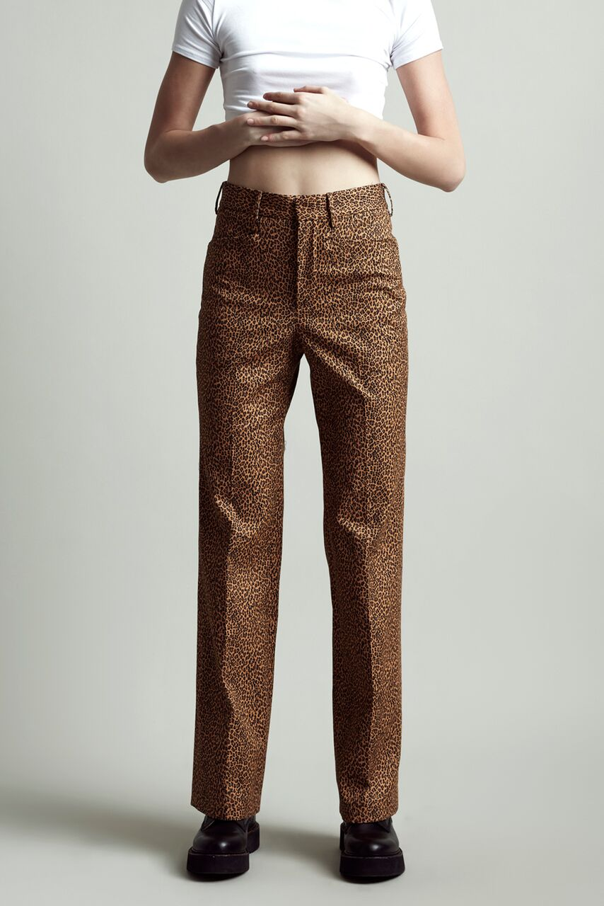R13 fitted high waisted pant, straight with slight flare at the bottom in mini leopard