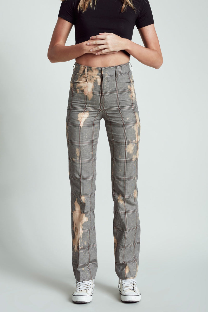 Colleen Pant - Grey Glenplaid with Bleach