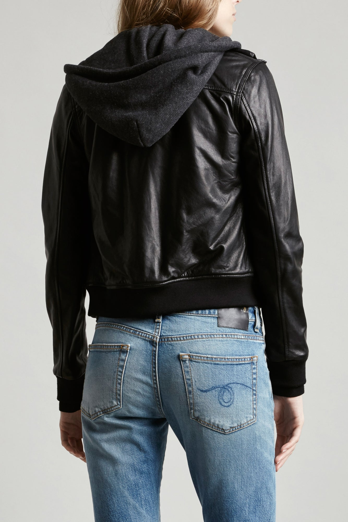 Hooded Leather Jacket - Black W/ Charcoal Knit
