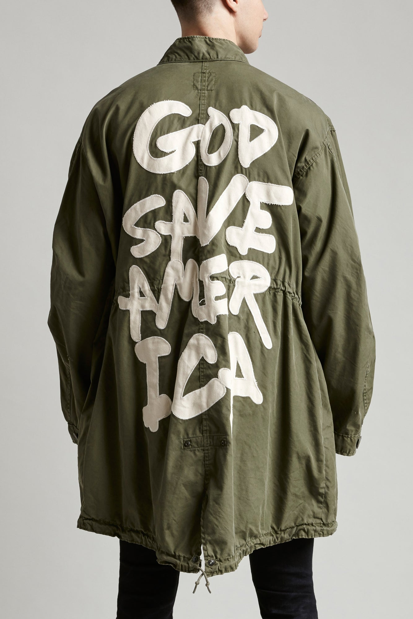 God Save America Fishtail Coat - Olive