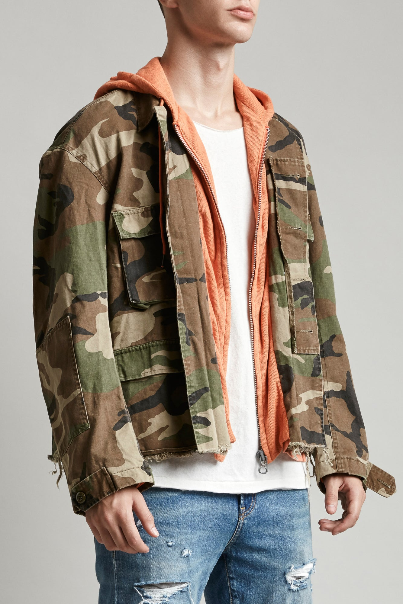 Hooded Abu Jacket - Camo W/ Orange