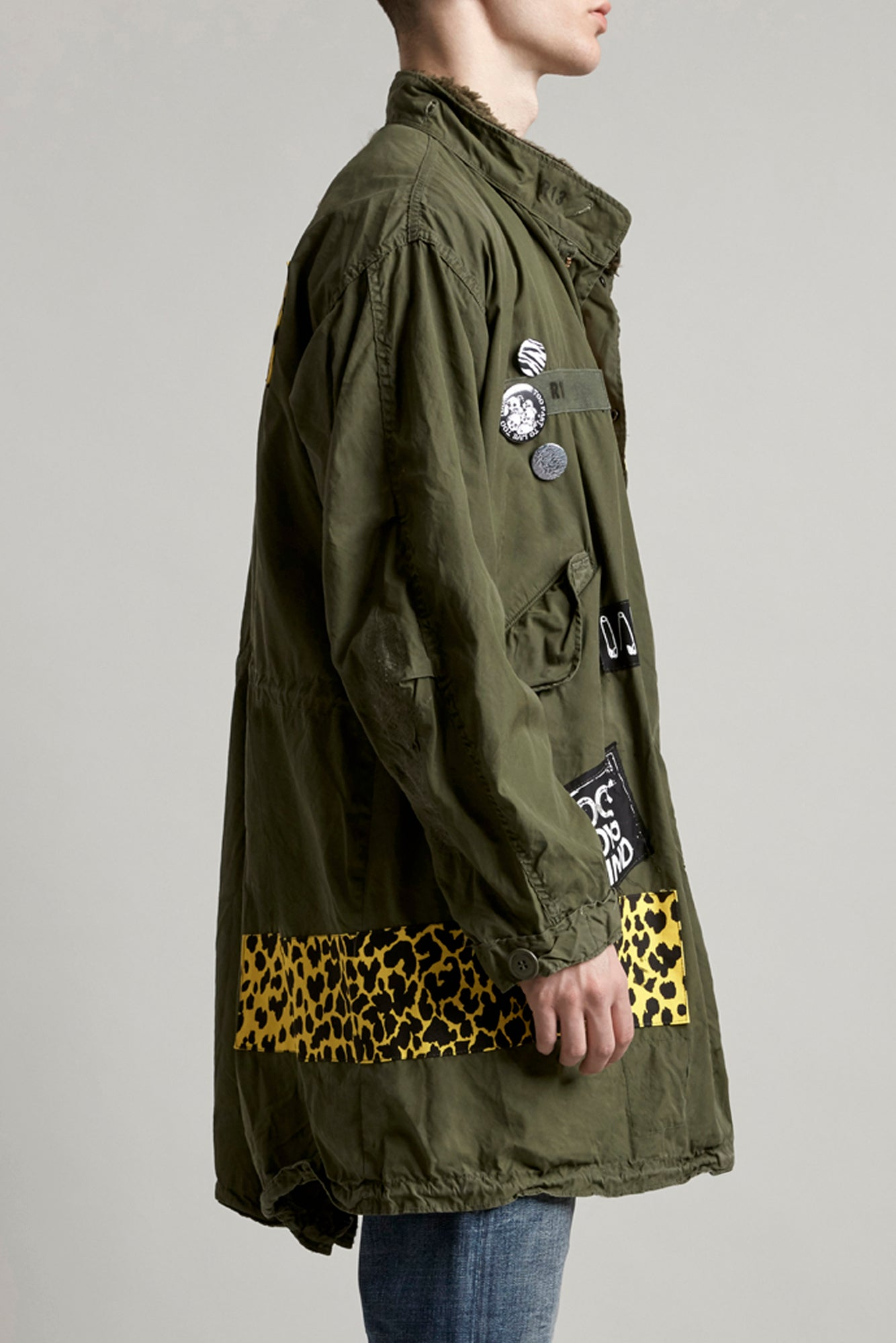 Repurposed Punk Fishtail Parka - Olive