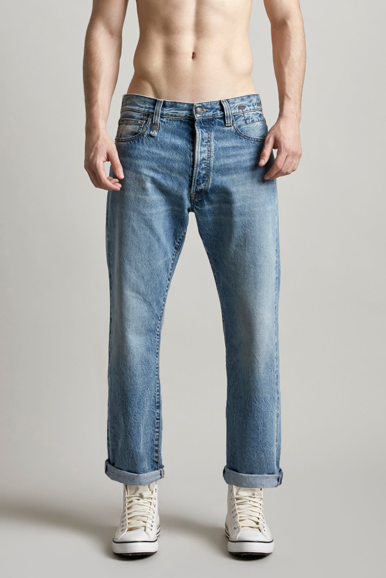 R13 Denim mid rise straight leg jeans in light blue wash