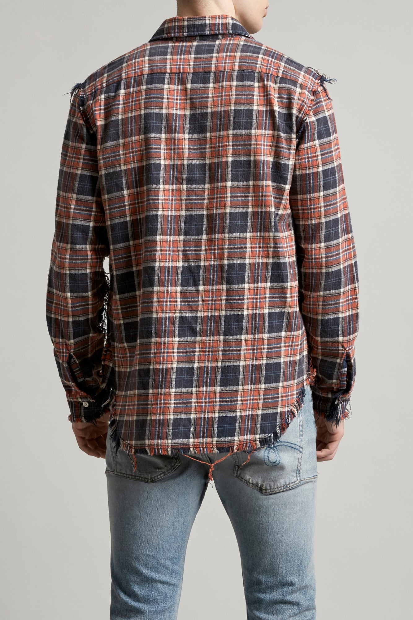 Shredded Seam Shirt - Blue/Red Plaid
