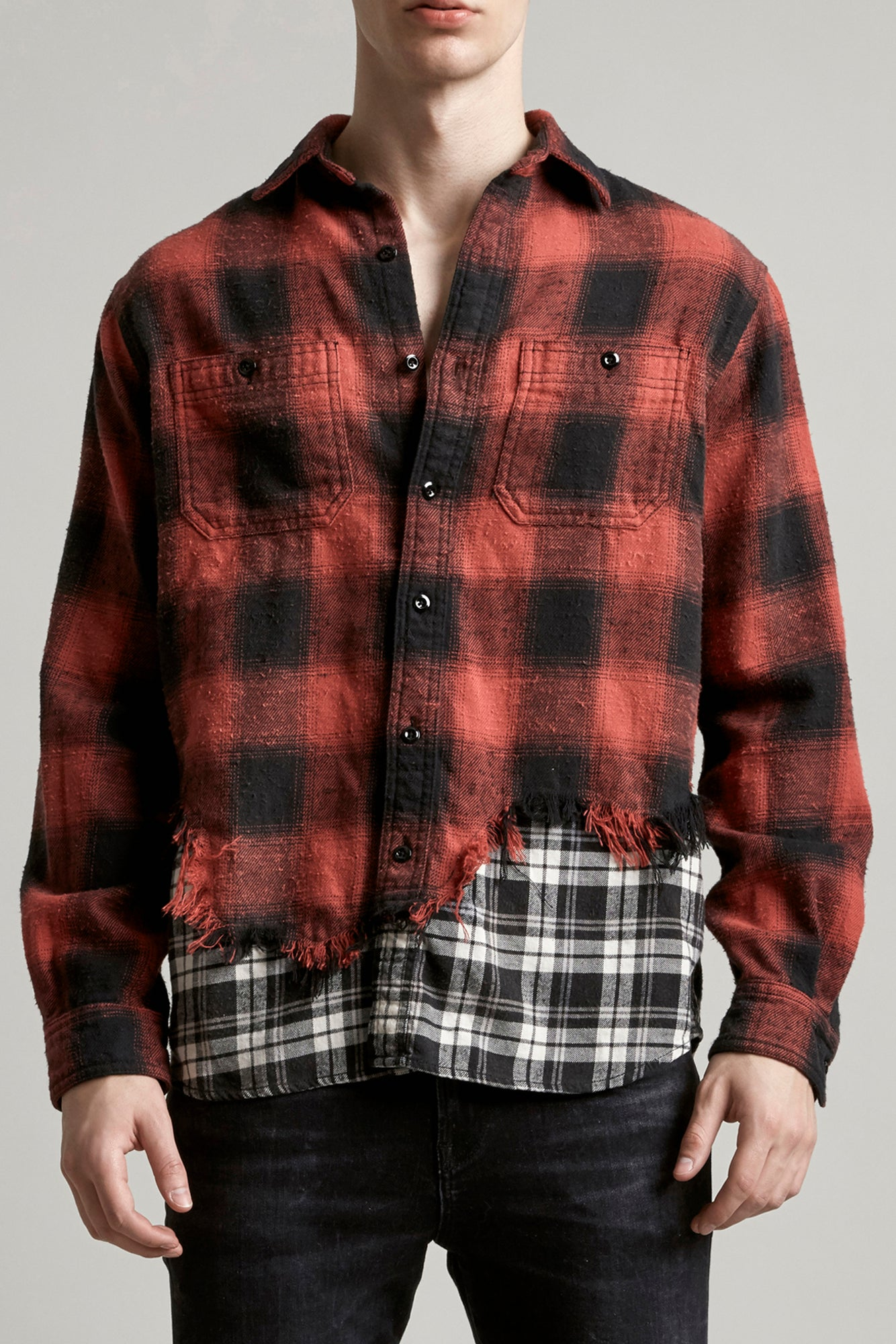 R13 classic button shirt with shredded double hem in red, black and white tartan
