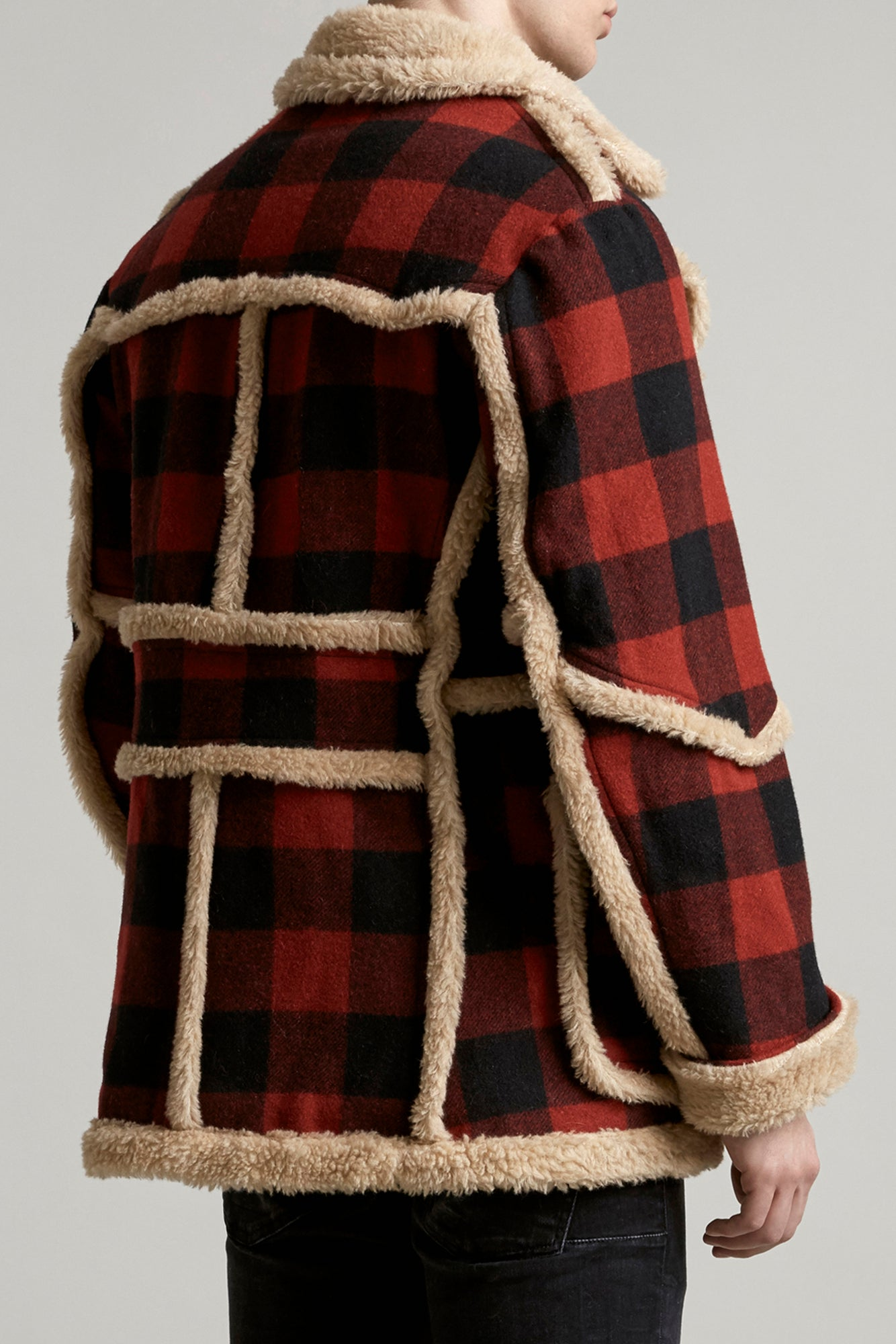 R13 imitation sheepskin oversized coat with two pockets in red and black tartan