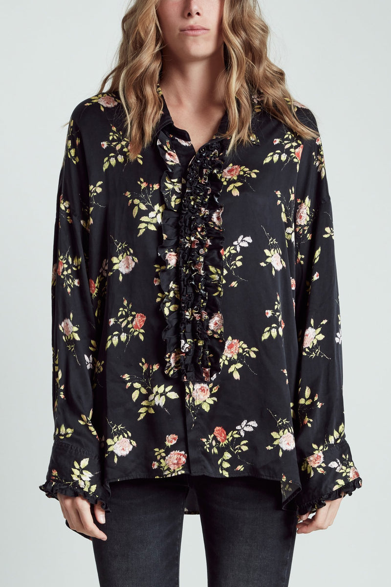 Drop Neck Tuxedo Shirt - Black Floral