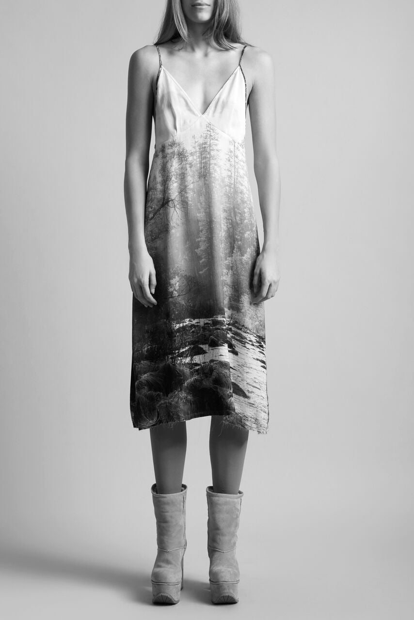 R13 low v slip dress with forest graphic screen printed on with adjustable straps