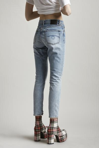 R13 Denim high waisted straight mom 'milf' jean in light blue wash haston