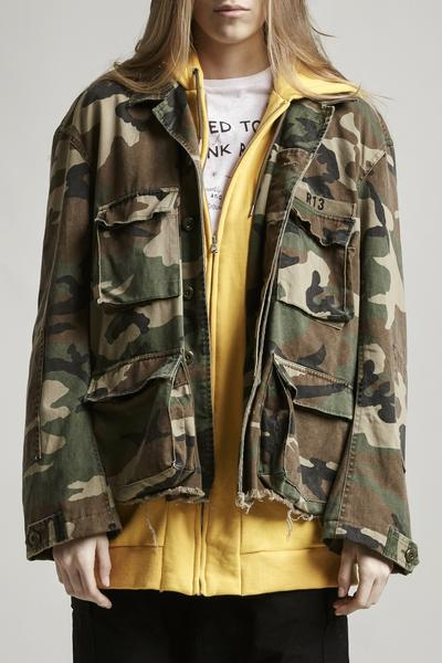 R13 Denim camo ABU cotton jacket with yellow hoodie attachment baggy oversized fit