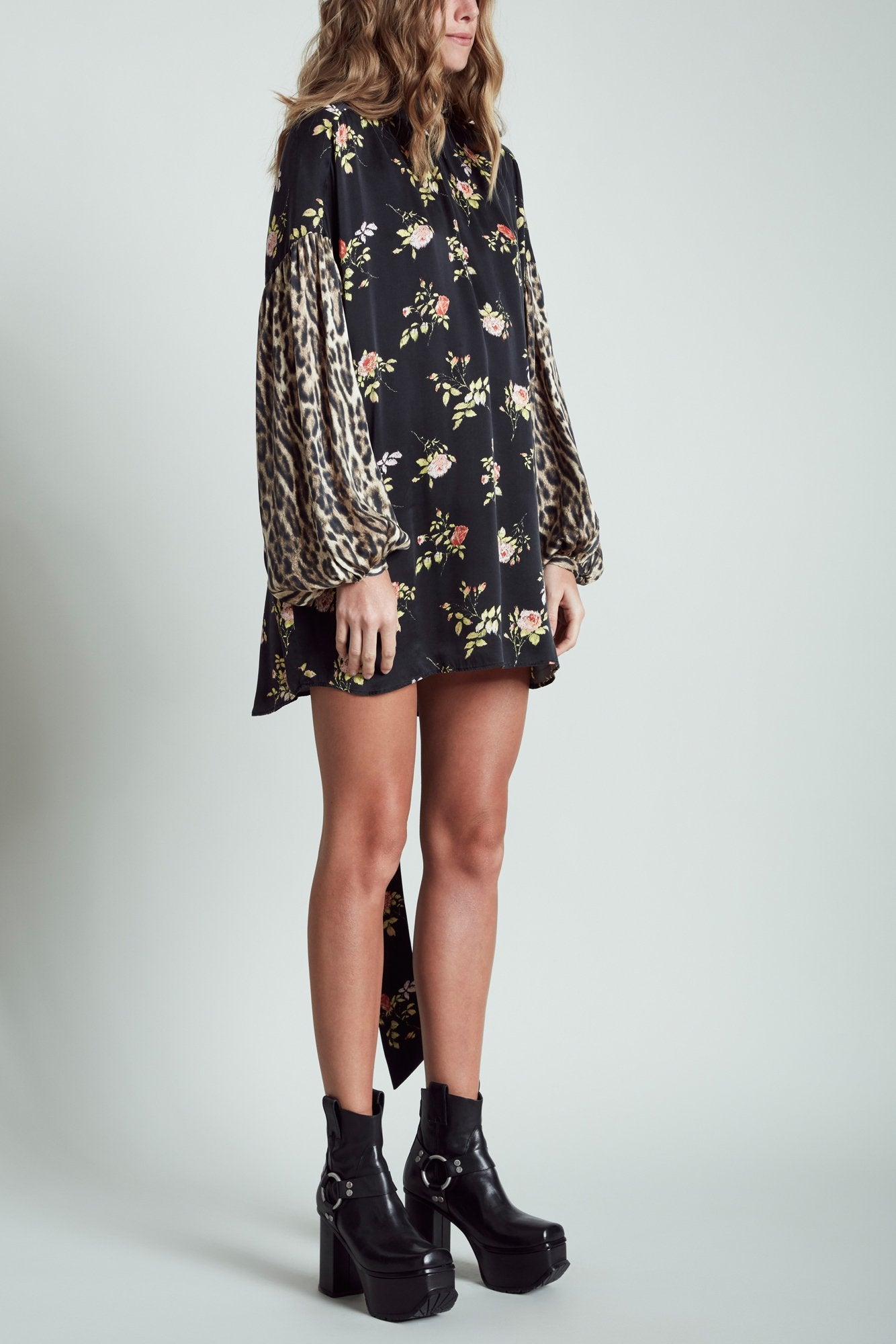 Neck Tie Dress - Black Floral