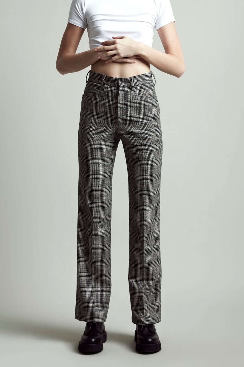R13 fitted checked smart high waisted pant