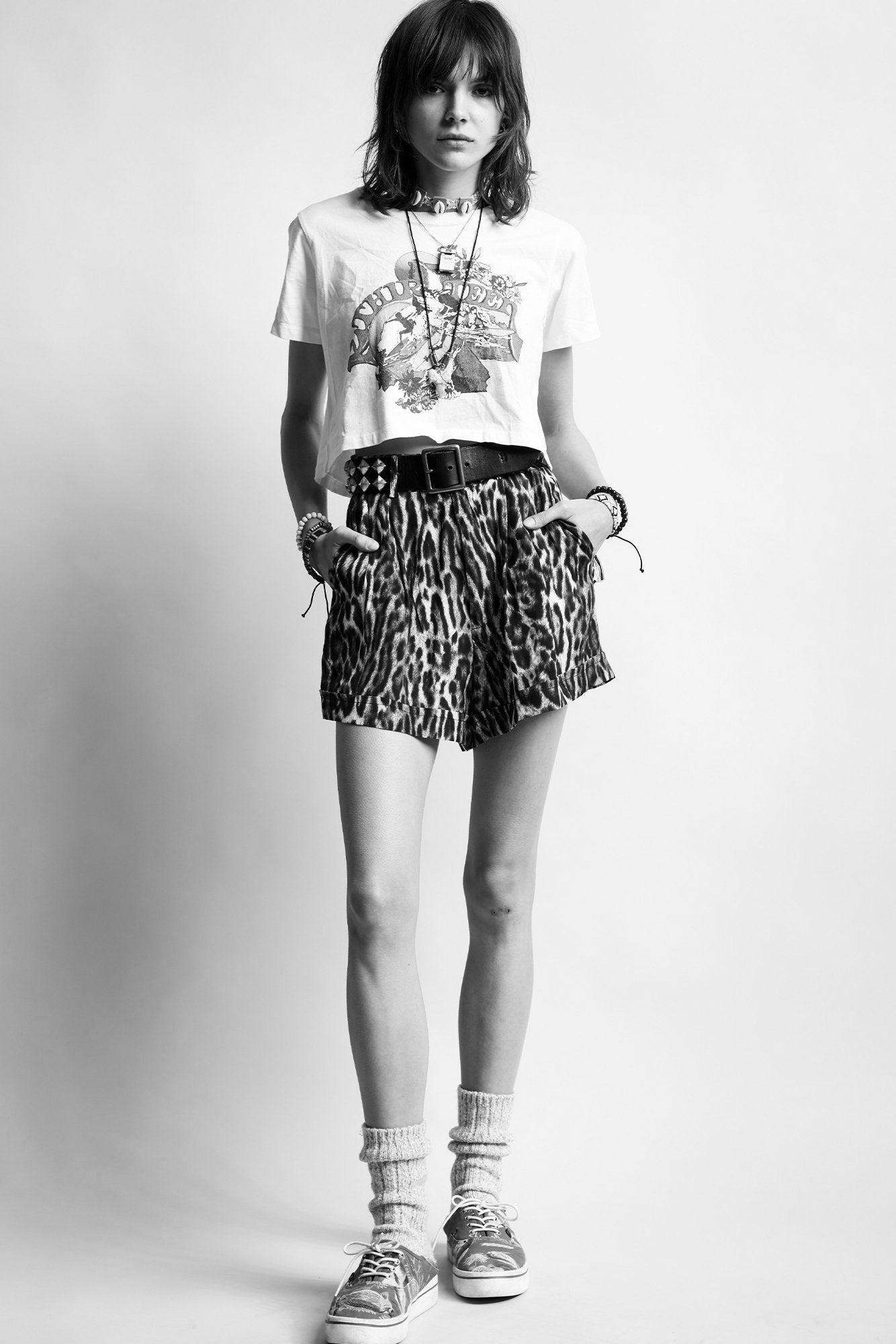 Pleated High-Rise Short- Leopard