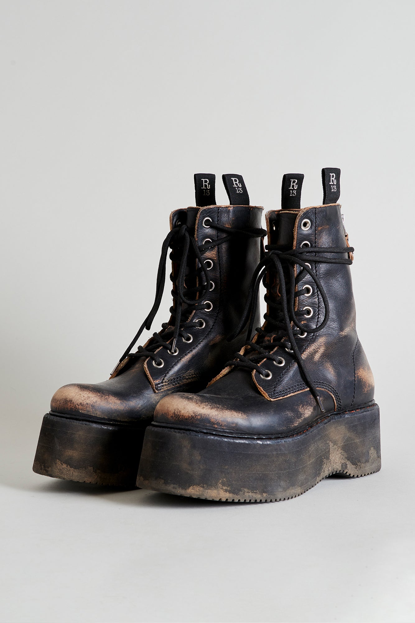 Double Lace-Up Boots - Cracked Black