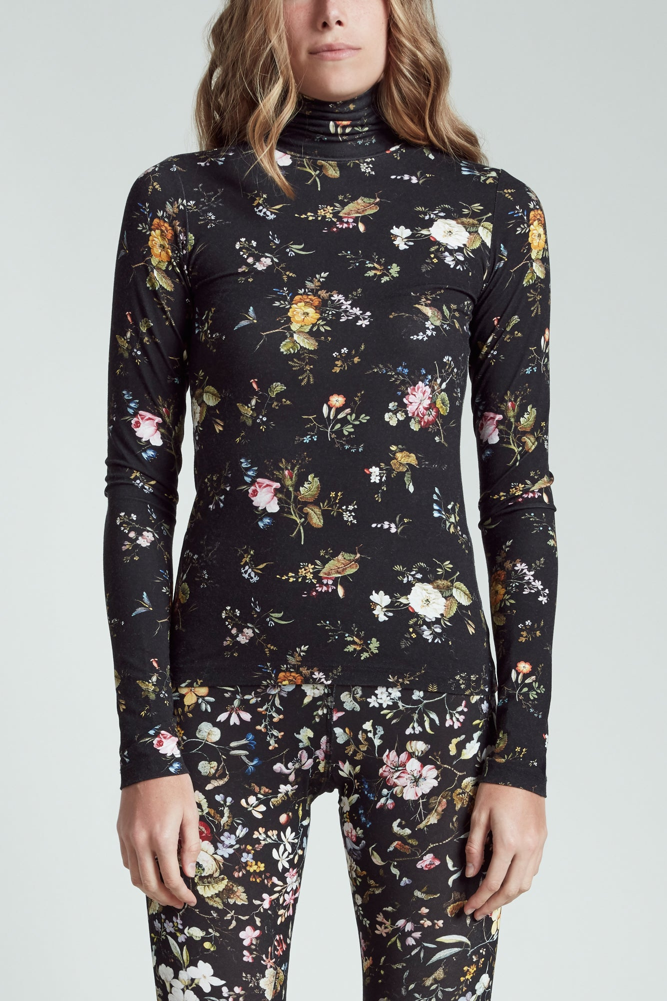 Floral Turtleneck