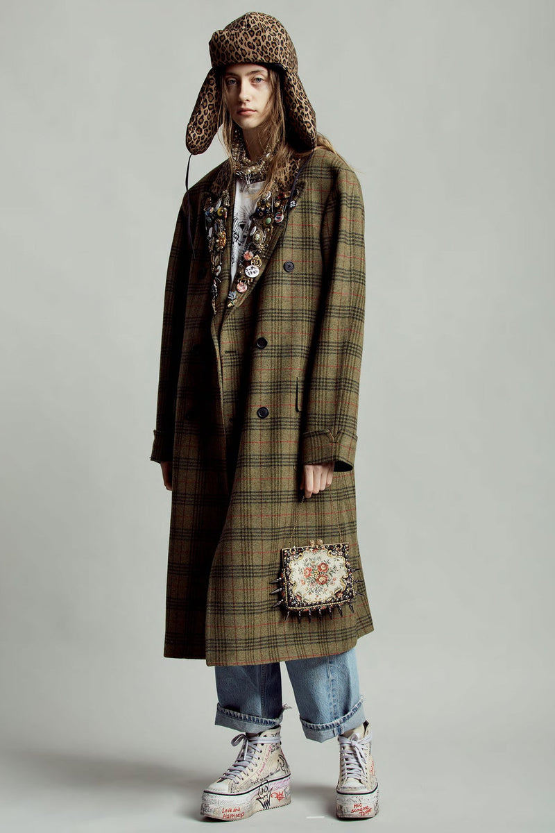 Double-Breasted Coat - Green Plaid